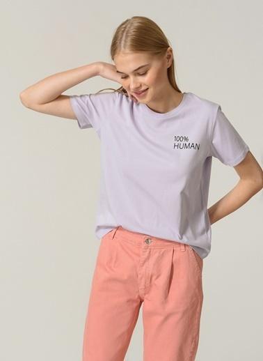 People By Fabrika Kadın Slogan Baskılı  Tişört PFKSS21TS0021 Lila